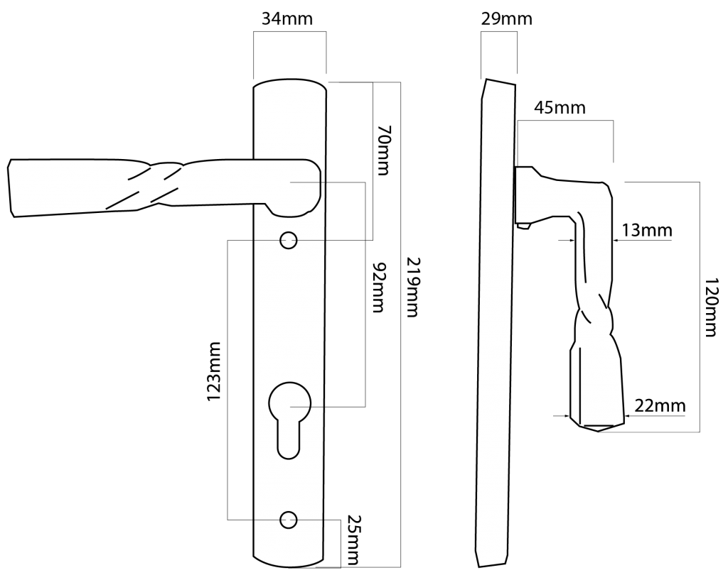 black iron door handle tech drawing
