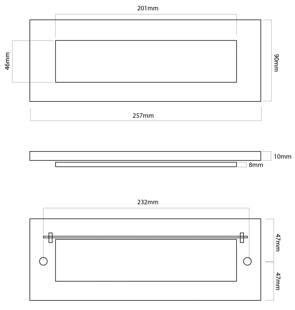 black iron plain letterplate tech drawing