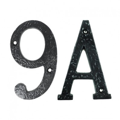 4 inch Black Iron Front Door Numbers and Letters