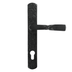 Black Iron Front Door Handle with 243mm Backplate