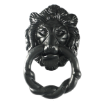 2 Piece Black Iron Lion's Head Door Knocker