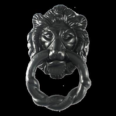 2 Piece Black Iron Lion's Head Door Knocker